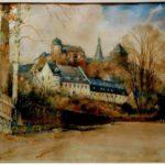 Bankhaus Chr. Gotthelf Brückner (helles Gebäude vorn), Gemälde von Kurt Geipel, um 18... (Mus. Burg Mylau).